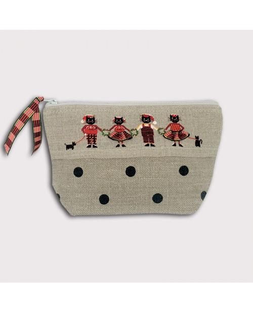 Trousse avec quatre chats habillés en rouge et noir, Noël. Kit broderie, petit point, point compté. 9027