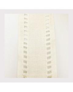 Bande à broder en étamine de lin blanc 9 cm large. Bord ajouré. Le Bonheur des Dames