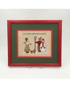 Embroidered and framed designed - Snowman. Motive: a girl, a boy, a snowman and a dog. Le Bonheur des Dames.