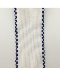 Bande en Aida à broder, blanc avec bordure bleu marine. Le Bonheur des Dames