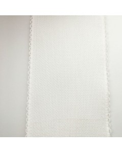 7 point/cm Aida band. 100% cotton. White. 10 cm large.