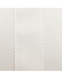 6 point/cm Aida band. 100% cotton. White, 5 cm wide.
