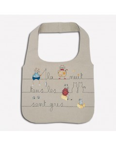 Traditional embroidery kit linen handbag. Motive: cats, mice, writing: at night all cats are grey. Le Bonheur des Dames 2910