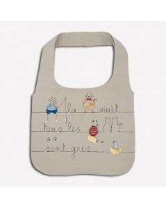 Kit broderie sac en lin avec motif chats et souris, écriture la nuit tous les chats sont gris. Le Bonheur des Dames 2910