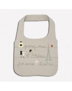 Traditional embroidery kit linen handbag. Motive: paris, champaign, Parisian woman, the eiffel tower. Le Bonheur des Dames 2913