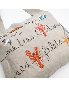 Kit broderie sac en lin avec motif marin. Le Bonheur des Dames 2914. Version brodée.