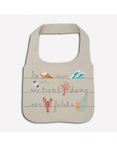 Kit broderie sac en lin avec motif vague, coquillage, homard, corail, vague. Le Bonheur des Dames 2914