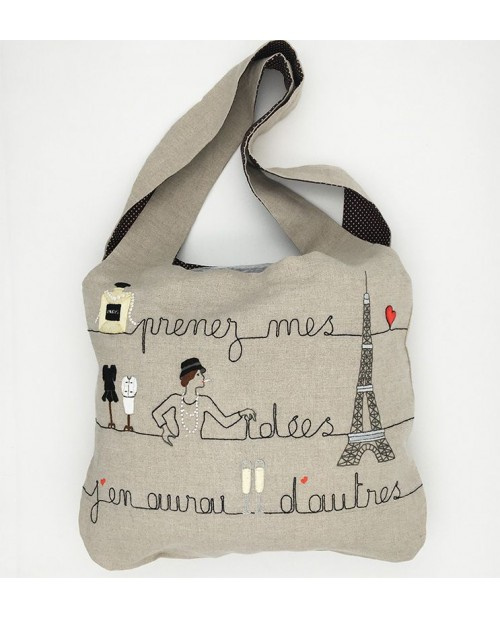 Linen bag to sew and to stitch with printed Paris design. To stitch by traditional embroidery. Le Bonheur des Dames. 2913