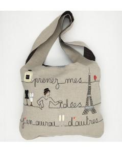Kit broderie sac en lin avec motif tour eiffel, parfum, champagne. Le Bonheur des Dames 2913. Sac à broder et à coudre