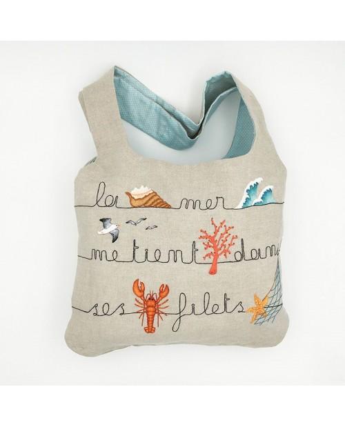 Traditional embroidery linen handbag. Sea motives: shell, wave, seagull, starfish. Le Bonheur des Dames 2914
