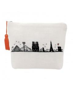White linen pochette to stitch by petit point. Motive: monuments of Paris. Left bank. 9028.