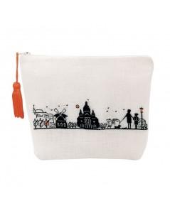 White linen pochette to stitch by petit point. Motive: monuments of Paris. Right bank. 9029