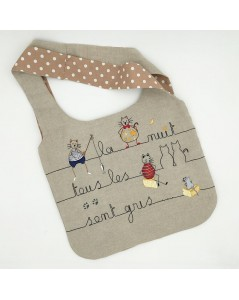 Assembled bag with printed motive Cats. To stitch by traditional embroidery. Le Bonheur des Dames 2910_M