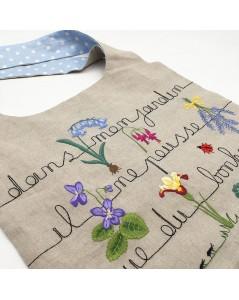 Kit broderie sac en lin avec motif fleurs, écriture dans mon jardin il ne pousse que du bonheur. Le Bonheur des Dames 2911_M