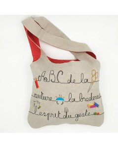 Linen bag sewn with printed couture design. To stitch by traditional embroidery. Le Bonheur des Dames. 2912_M
