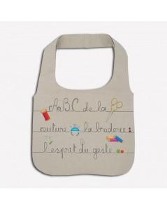 Kit broderie sac en lin avec motif accessoires couture. Le Bonheur des Dames 2912_M