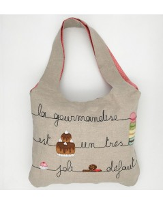Traditional embroidery kit linen handbag. Motive: pastries and macarons. Le Bonheur des Dames 2915_M. Bag is sewn.