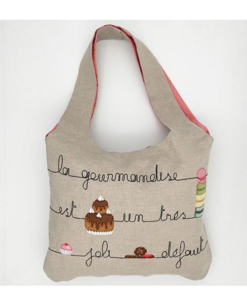 Kit broderie sac en lin avec motif gâteau et macarons. Le Bonheur des Dames 2915_M. Sac monté.