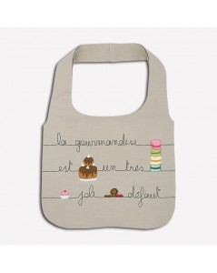 Traditional embroidery kit linen handbag. Motive: pastries and macarons. Le Bonheur des Dames 2915_M