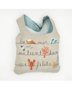 Kit broderie sac en lin avec motif marin, homard, étoile de mer, mouette, vague. Le Bonheur des Dames 2914_M. Sac monté.