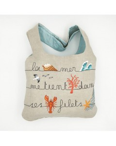 Linen bag to embroider Sea to stitch by traditional embroidery, printed motive. Le Bonheur des Dames. 2914_M