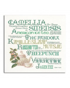 Counted cross stitch kit. Thea Gouverneur. Tea pot, cup and writings in green.