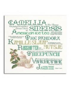 Kit broderie point de croix, point compté. Théière et inscriptions en vert. Thea Gouverneur G3012