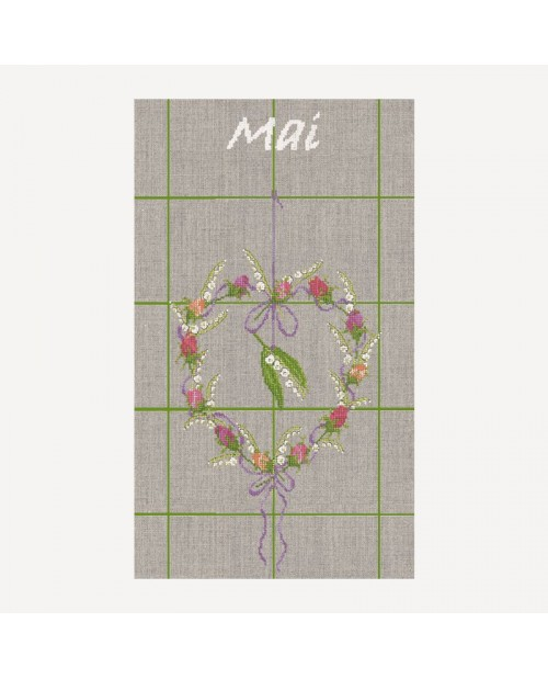 Tea-towel May heart. Motive lily of the valley and other may flowers. Le Bonheur des Dames TL05