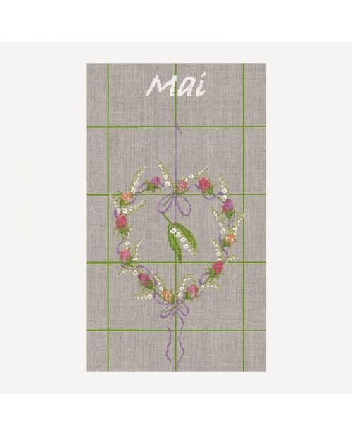 Torchon Mai. Kit broderie. Cœur de fleurs et muguet. Le Bonheur des Dames TL05