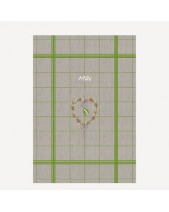 Tea-towel May to cross stitch. Flower heart in the middle, natural linen with green check. TL05