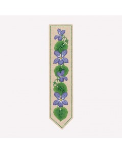 Printed bookmark to stitch with traditional embroidery stitches. Motive - mauve flowers, clematis. Le Bonheur des Dames 4718
