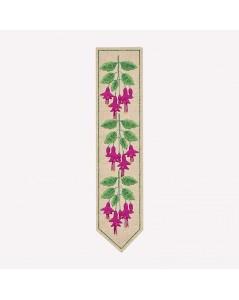 Marque-page imprimé à broder façon traditionnelle. Motive fleurs fuchsias. Le Bonheur des Dames. 4719
