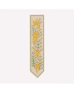 Printed bookmark to stitch with traditional embroidery stitches. Motive - flowers, mimosas. Le Bonheur des Dames 4721