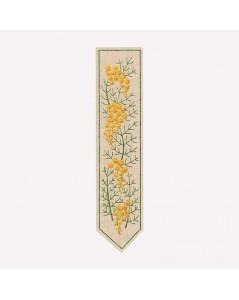 Marque-page imprimé à broder façon traditionnelle. Motive fleurs mimosas. Le Bonheur des Dames. 4721