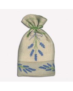 Linen pouch to embroider. Lavender flowers. Le Bonheur des Dames 5060