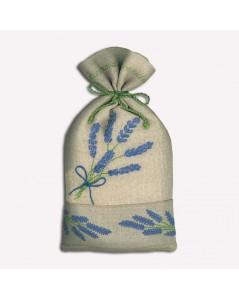 Linen pouch with embroidered lavender branches. Le Bonheur des Dames
