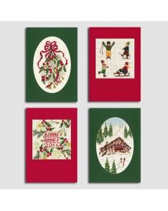 4 Cartes de Vœux Fêtes Fin d'Année avec motifs de Noël, à broder sur toile Aida 8 pts/cm. Le Bonheur des Dames 7535