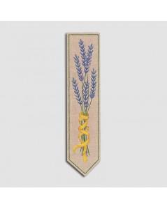 Marque-page imprimé à broder façon traditionnelle. Motive fleurs mauves, brindilles de lavande. Le Bonheur des Dames. 4724