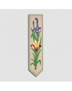 Marque-page imprimé à broder de façon traditionnelle. Motive fleurs d'iris, mauves et jaunes. Le Bonheur des Dames. 4720