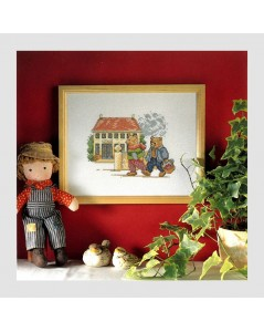 Counted cross stitch embroidery kit. The Bear at school. Permin of Copehagen design. 123002