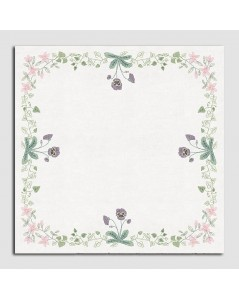 Nappe blanche avec des fleurs sur périmètre aux fleurs, pensées au point de croix imprimé. Le Bonheur des Dames. 6116