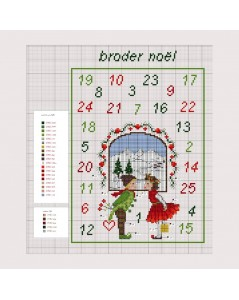 Counted cross stitch embroidery chart. Motive: Christmas elves. Design by Cécile Vessière