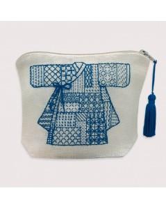 Le Bonheur des dames shop-window. Pochette Korean Kimono Sashiko style. 9030