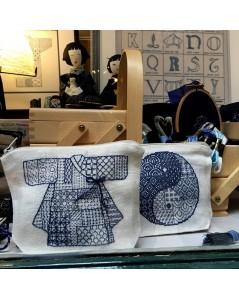 Le Bonheur des dames shop-window. Pochettes Sashiko Korean Kimono and Yin and Yang. 9030