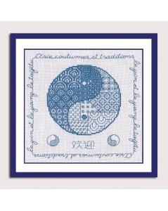Le Yin et le Yang kit à broder sur toile de lin blanc avec fil bleu. Point arrière et point de croix. 3806 Le Bonheur des Dames