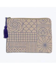 Linen pochette with printed motive, Japanese style Sashiko. Front stitch embroidery. Le Bonheur des Dames 2950