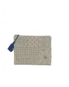 Linen pochette embroidered by front stitch, printed motive, style Sashiko. Le Bonheur des Dames 2950