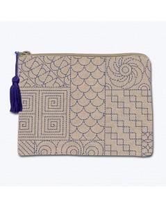 Linen pochette with printed motive, Japanese style Sashiko. Front stitch embroidery. Le Bonheur des Dames 2951