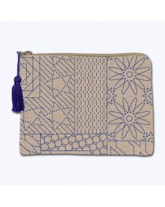 Linen pochette with printed motive, Japanese style Sashiko. Front stitch embroidery. Le Bonheur des Dames 2952