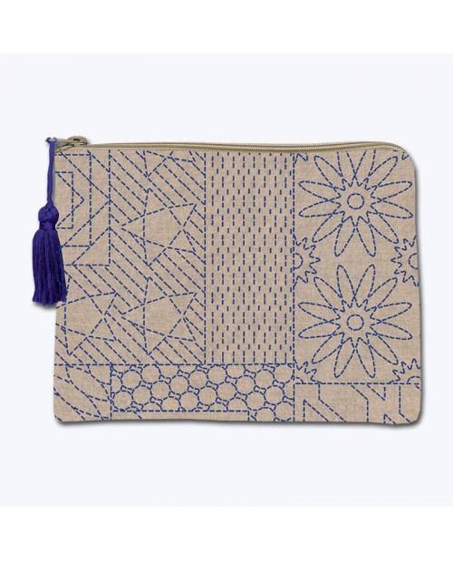 Trousse en lin avec motif imprimé, motif japonais style Sashiko. Broderie au point de devant. Le Bonheur des Dames 2952